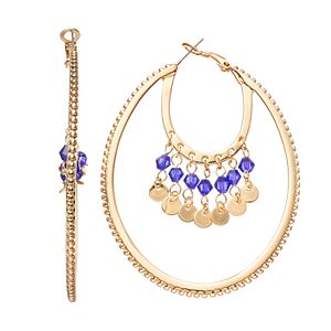 Jennifer Lopez Blue Beaded Layered Oval Hoop Earrings