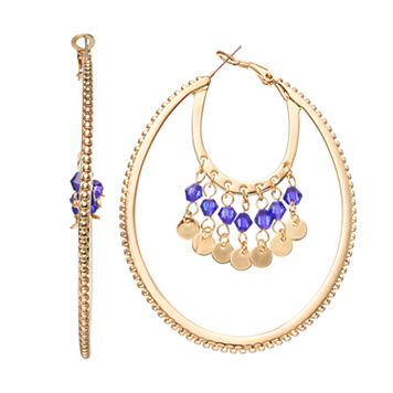 Jennifer Lopez Blue Beaded Layered Oval Hoop Earrings