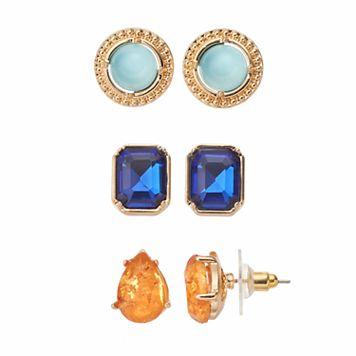 Jennifer Lopez Button, Teardrop & Rectangle Stud Earring Set
