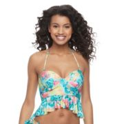 Juniors' Social Angel Ruffled Halterkini Top