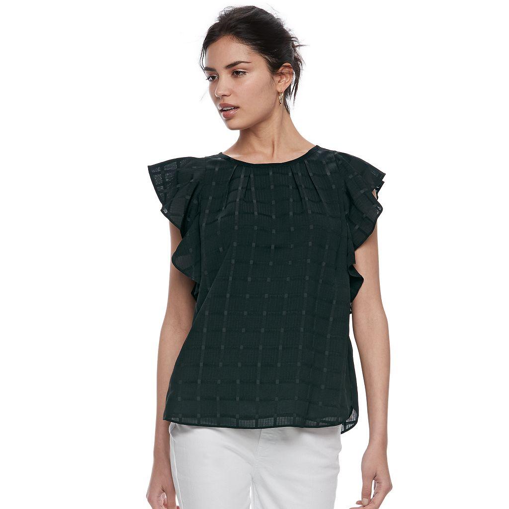 Women's ELLE™ Pleated Flutter Sleeve Top