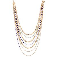 Jennifer Lopez Blue Bead & Disc Swag Necklace
