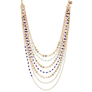 Jennifer Lopez Blue Bead & Disc Swag Necklace
