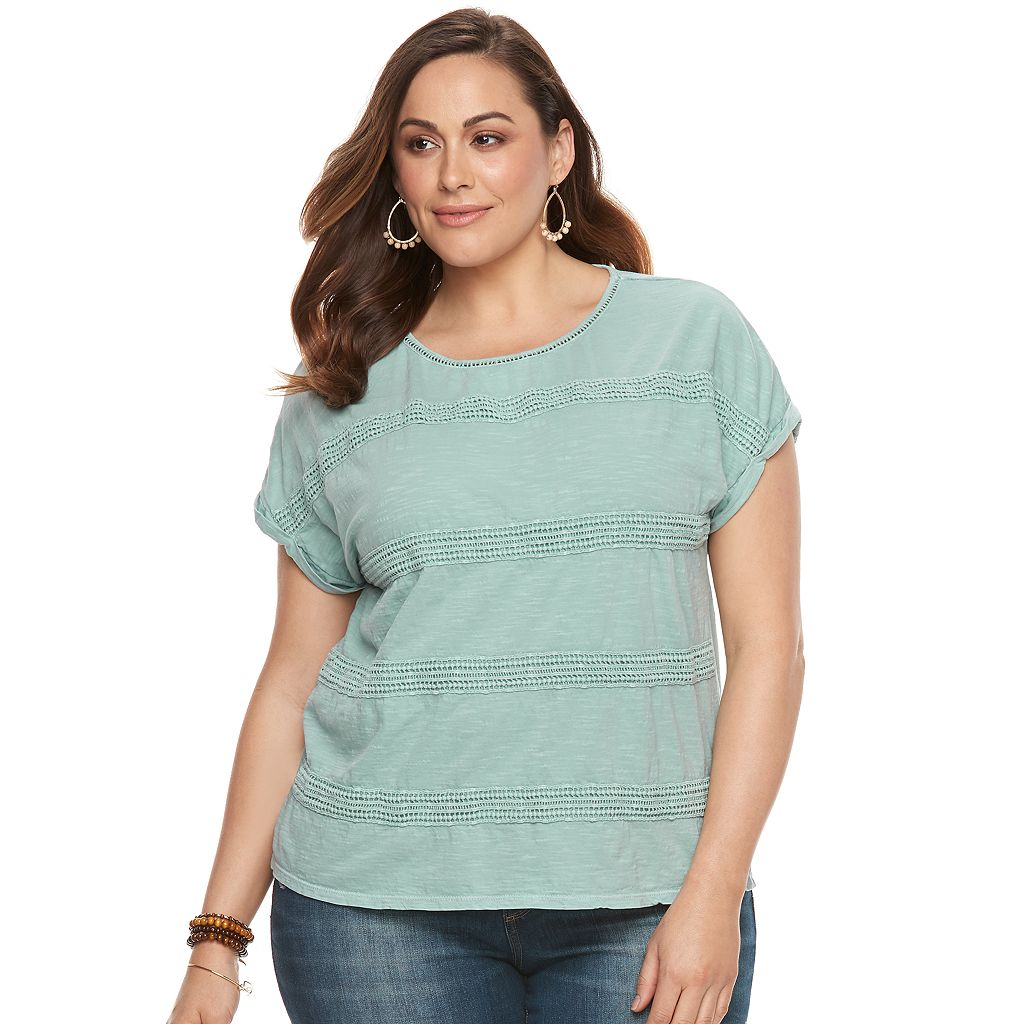 Plus Size SONOMA Goods for Life™ Crochet Striped Tee