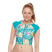 Juniors' Social Angel Cropped Rash Guard Top