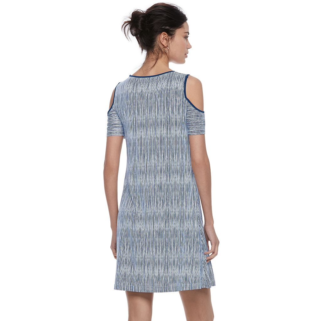 Women's ELLE™ Striped Cold-Shoulder Shift Dress
