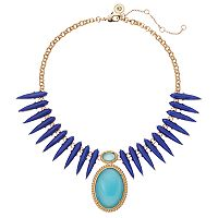 Jennifer Lopez Blue Teardrop & Oval Statement Necklace