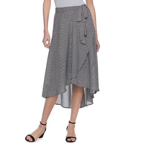 6a05b0d157 Women's ELLE™ Checkered Faux-Wrap Skirt
