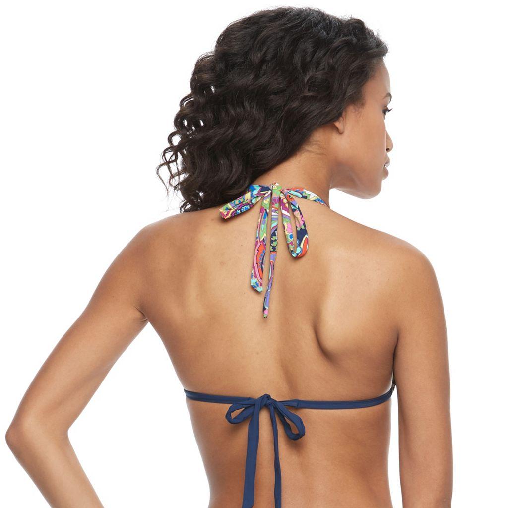 Juniors' Social Angel Printed Triangle Halter Bikini Top