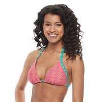Juniors' Social Angel Printed Triangle Halter Bikini Top