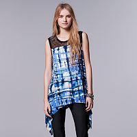 Women's Simply Vera Vera Wang Print Lace Handkerchief Tunic