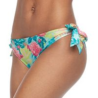 Juniors' Social Angel Printed Side-Tie Bikini Bottoms