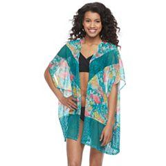 Juniors' Social Angel Printed Kimono Cover-Up