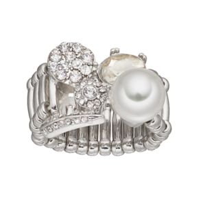 Simulated Pearl Stone Cluster Stretch Ring