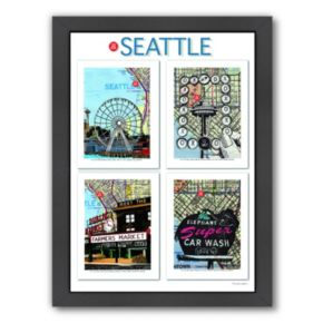 "Americanflat ""Seattle"" Poster Framed Wall Art"
