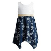 Toddler Girl Youngland Lace Floral Chambray Dress