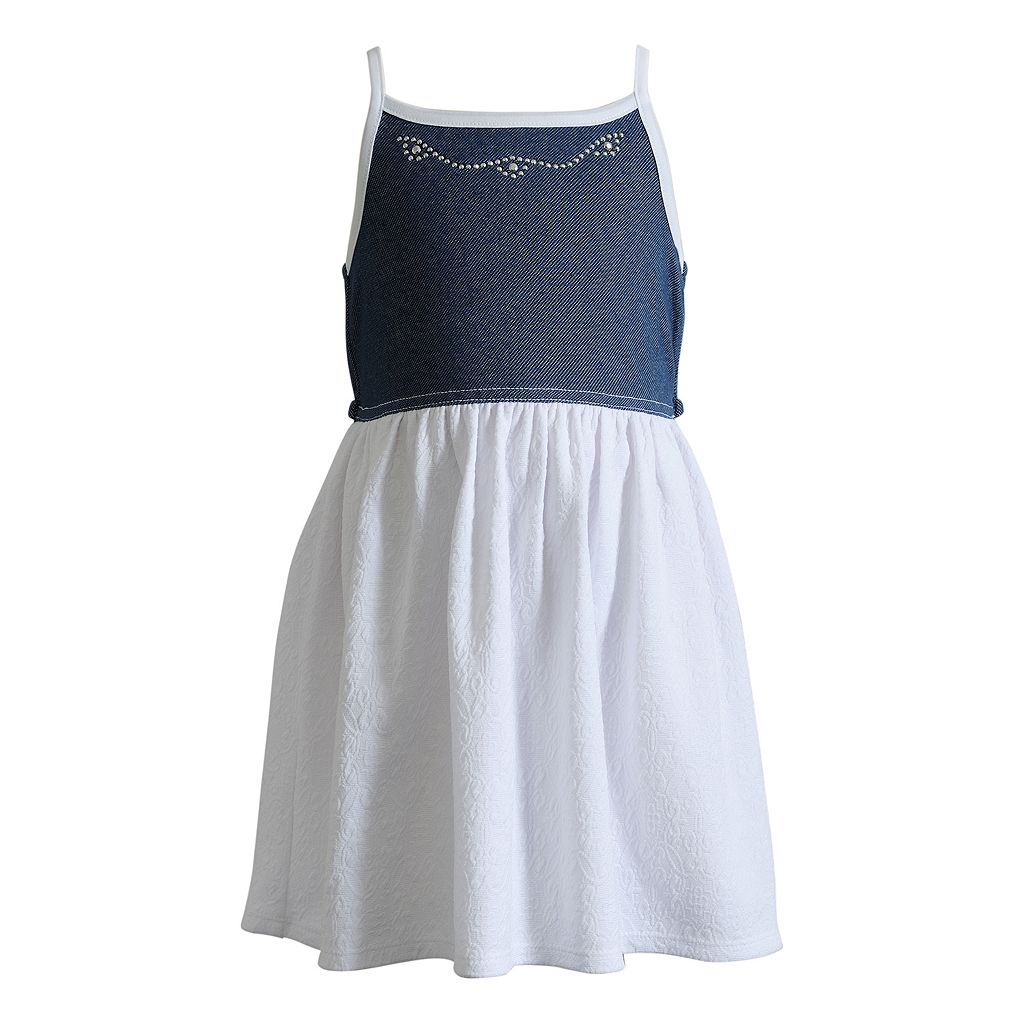 Toddler Girl Youngland Denim Sleeveless Dress, Popover Flutter Top & Shorts Set