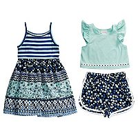 Toddler Girl Youngland Printed Sleeveless Dress, Popover Top & Shorts Set