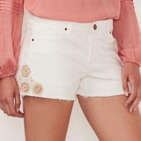 Women's LC Lauren Conrad Crochet Jean Shorts