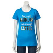 Juniors' 'Not Enough Coffee' Metallic Graphic Tee