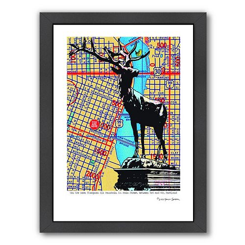 Americanflat Thompson Elk Foundation Portland Framed Wall Art