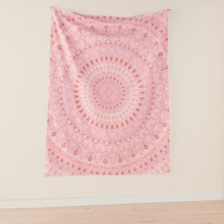 Simple By Design Pink Medallion Wall Tapestry