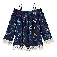 Girls 4-12 SONOMA Goods for Life™ Smocked Off-The-Shoulder Floral Top