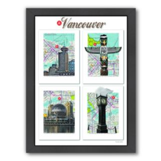 """Americanflat """"Vancouver"""" British Columbia Framed Wall Art"""