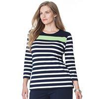 Plus Size Chaps Striped Jersey Top