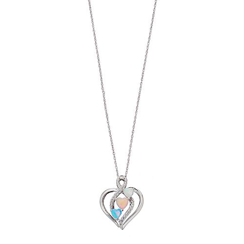 Sterling Silver Lab-Created Opal & White Sapphire Heart Pendant