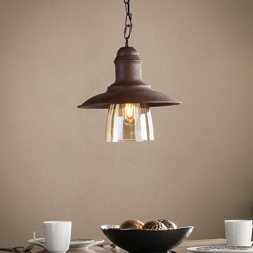 Gavran Metal and Hand-Blown Glass Bell Pendant Lamp