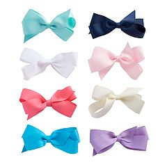 Girls 4-16 8-pack Grosgrain Clip-On Hair Bows