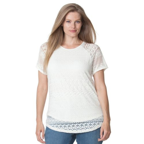 Plus Size Chaps Lace Overlay Top