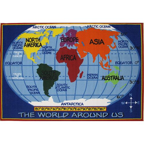 Fun Rugs Fun Time Kids World Map Rug - 2'7'' x 3'11''