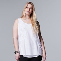 Plus Size Simply Vera Vera Wang Applique Tank Top