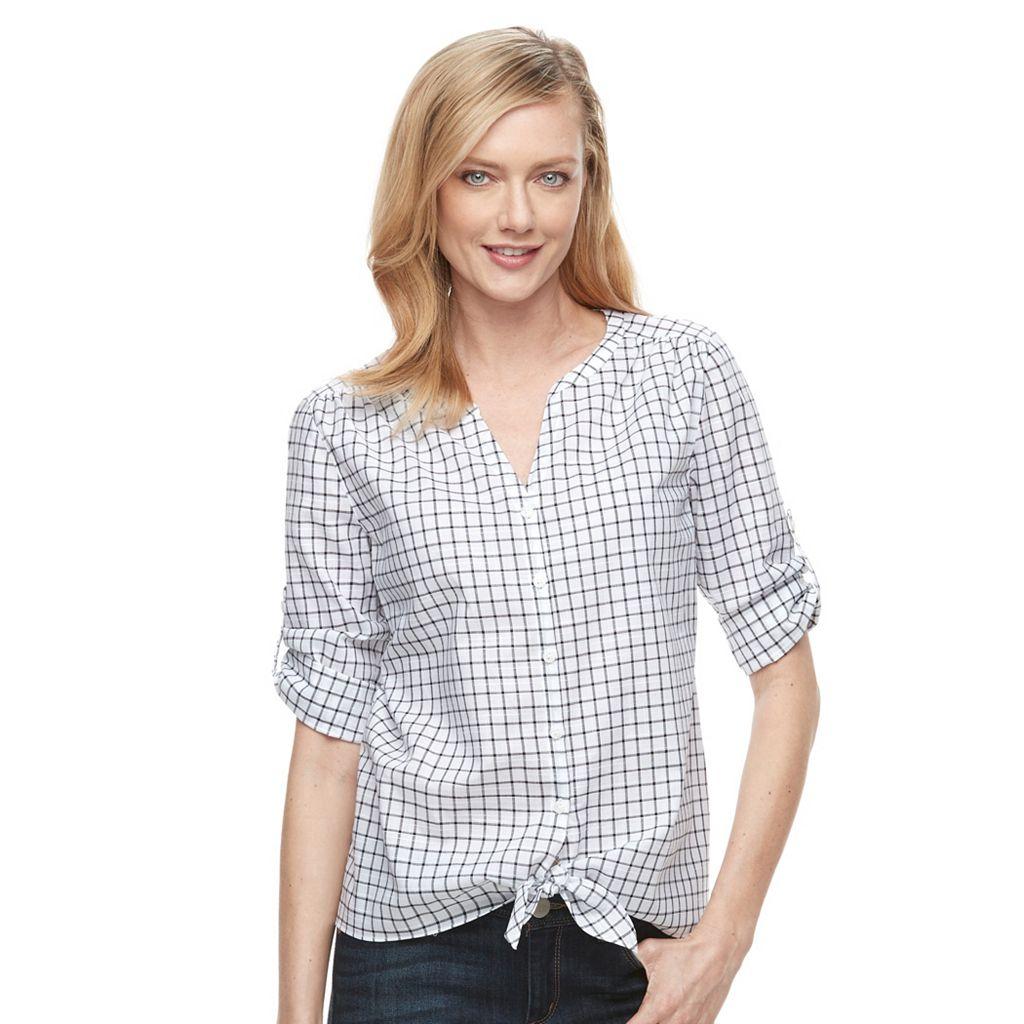 Women's Croft & Barrow® Tie-Front Shirt