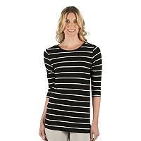 Women's Larry Levine Striped Embellished Boatneck Tee