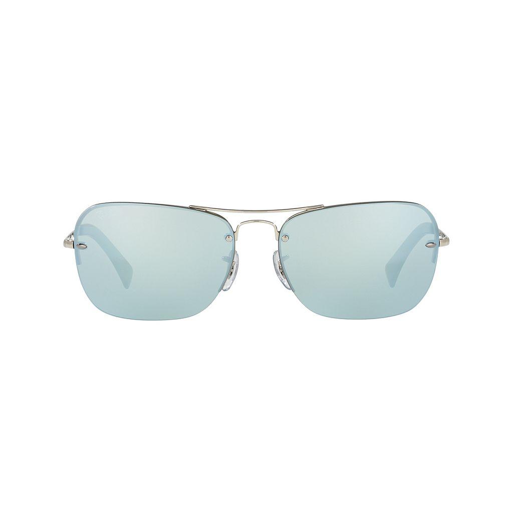 Ray-Ban Highstreet RB3541 61mm Semi-Rimless Rectangle Mirror Sunglasses