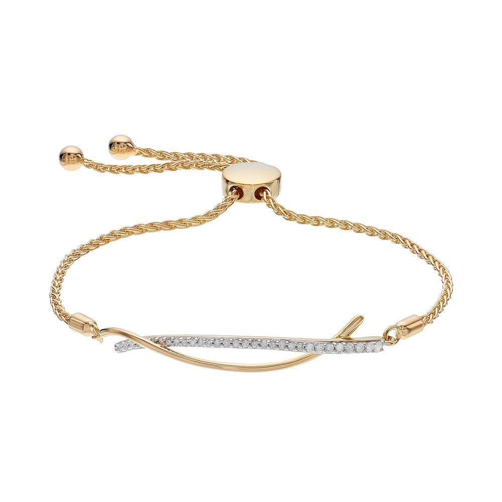 7bb121613d7 14k Gold Over Silver 1/5 Carat T.W. Diamond Curved Bar Bolo Bracelet