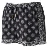 Juniors' Pink Republic Mix-Print Shortie Shorts