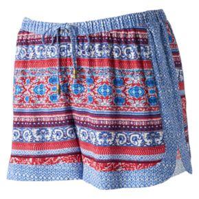 Juniors' Pink Republic Mix-Print Shortie Shorts