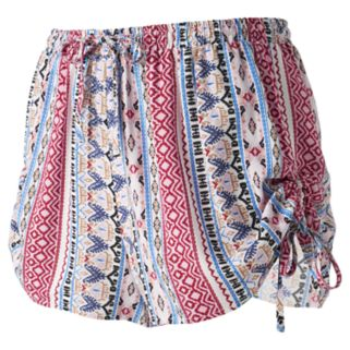 Juniors' Pink Republic Print Ruched Shorts