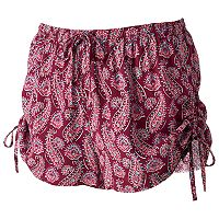 Juniors' Pink Republic Print Ruched Shorts