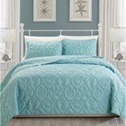 Coral 3 pc Quilt Set