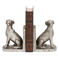 Silver Finish Dog Bookends 2 pc Set