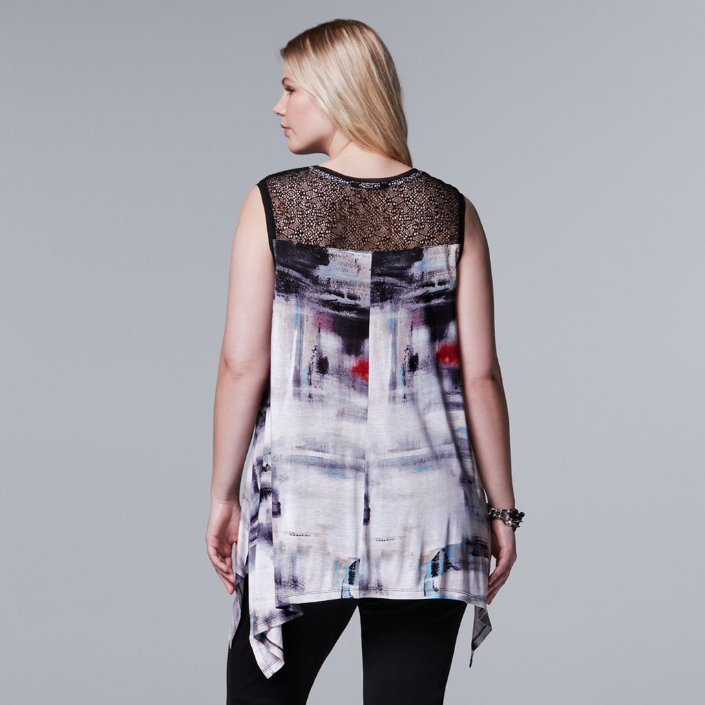 Plus Size Simply Vera Vera Wang Print Lace Handkerchief Tunic
