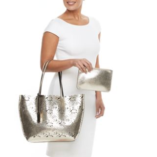 Chaps Alivia Laser-Cut Reversible Tote Bag with Pouch