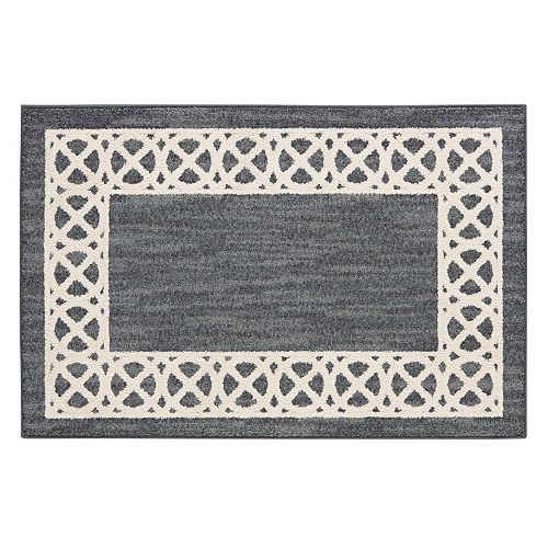 Mohawk home augusta cross point geometric framed rug for Best store to buy rugs