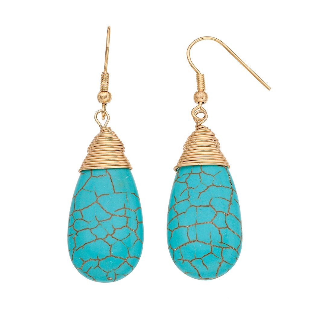 Simulated Turquoise Teardrop Earrings