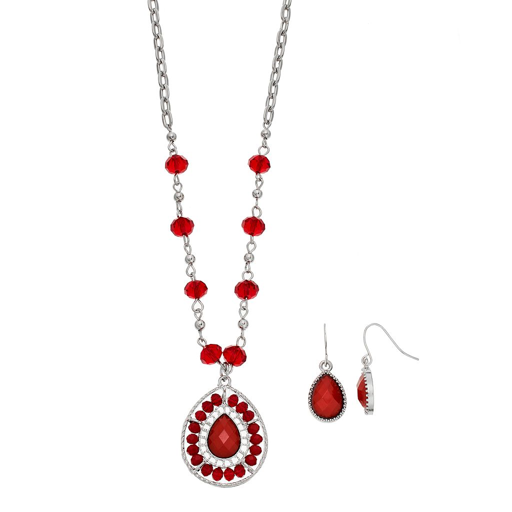 Red Beaded Teardrop Pendant Necklace & Earring Set